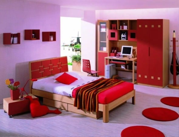 Red Minimalist Chinese Bedroom Design