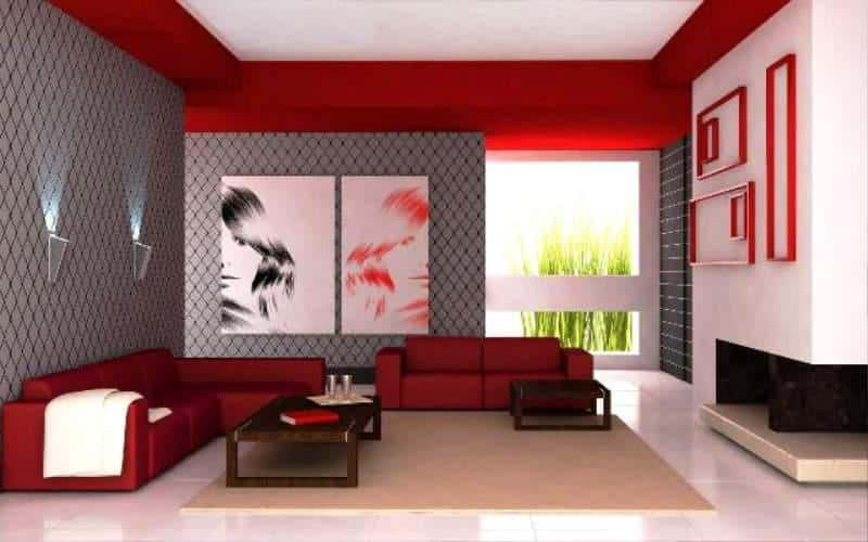 red bedroom interior theme
