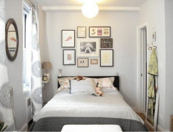 white bedroom with hang mirror and frame small pictures - How To Decorate A Small Bedroom