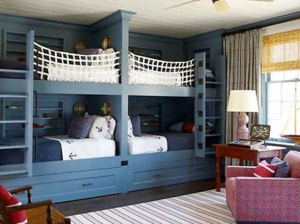 unique bunk beds secured with ropes