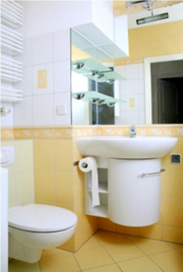 Architecture decor interior decorating for Small yellow bathroom ideas
