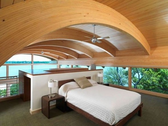 bedroom in hammock guset house with big windows