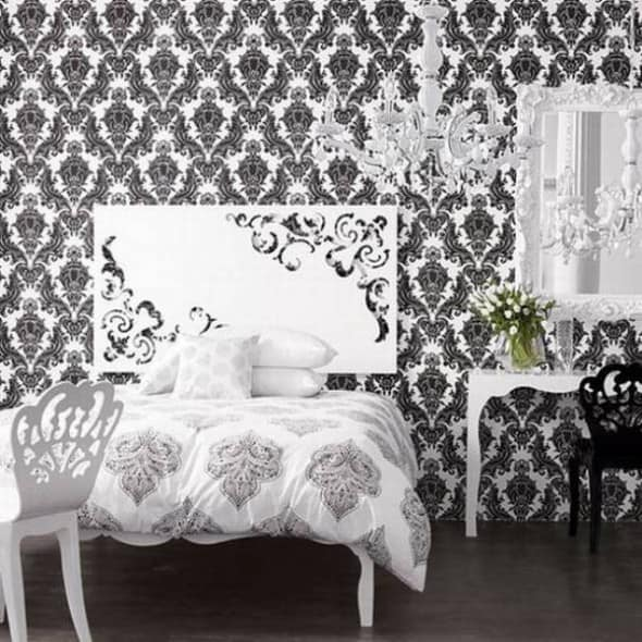 Vintage style in your room architecture decorating ideas for Black and white wallpaper for bedroom