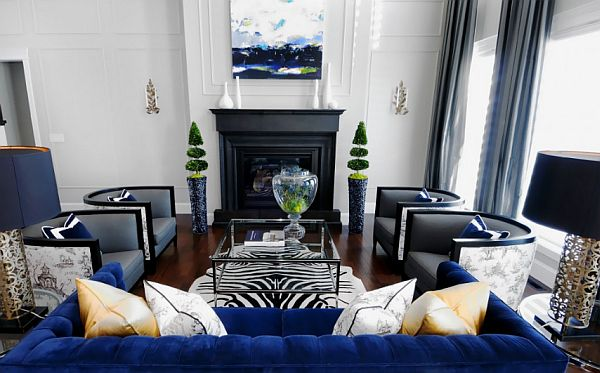 Black And White Living Room With Blue And Brown Combination - Black and white living rooms ideas