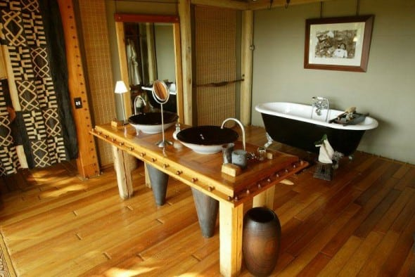 brown safari style bathroom