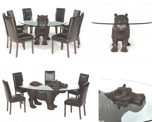 Bronze Tables with Animals Emerging Out Of Glass Surfaces Designs