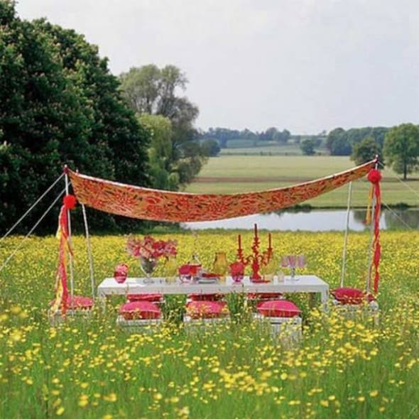 outdoor dining room with canopy