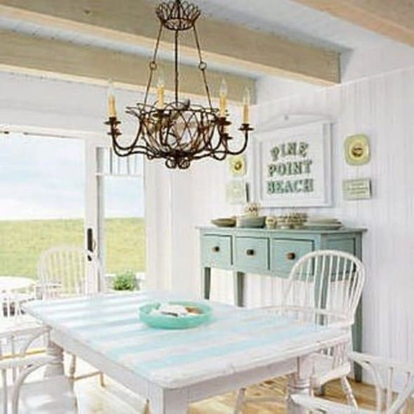 Dining room decoration in the comfortable cottage style for Cottage beach house decor