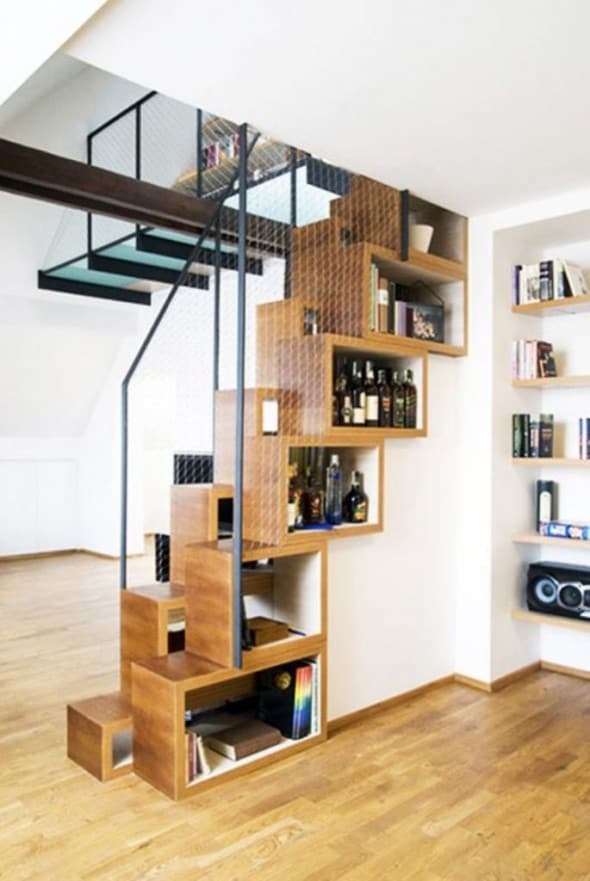 wine rack under the stairway