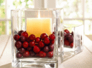 cranberries as decor in the bottom of a square vase to dress up a plain pillar candle