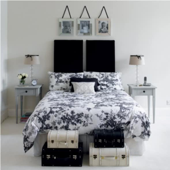 Black and white bedroom with special framing pictures