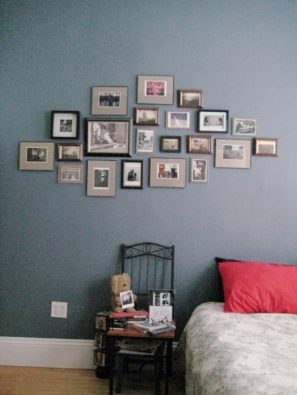 pictures of family, friends and inspiration as the bedroom wall art