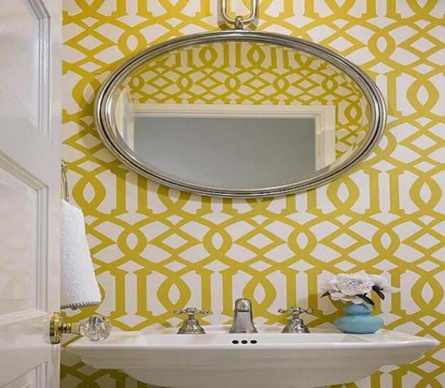 Beautifully Wall Papered Bathroom