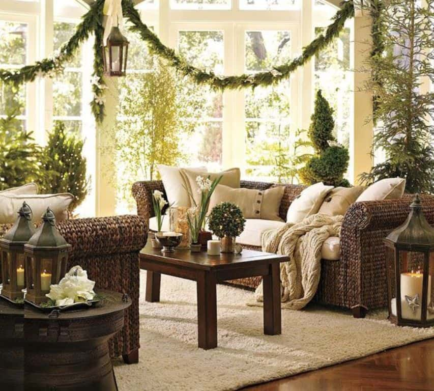 Christmas Living Room Green Decor