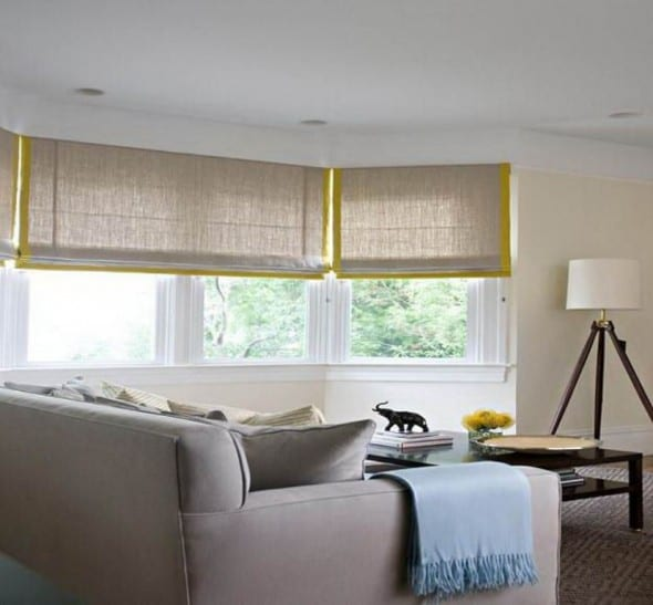 Tan Sofa and Elegant Bamboo Window Shade
