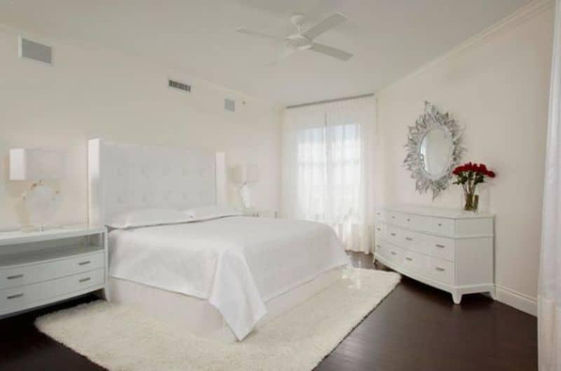 corner white bedroom